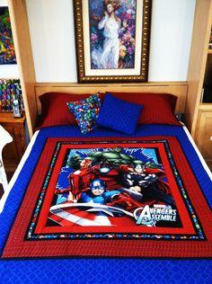 custom superhero full size quilt and custom name pillow set - 1/2