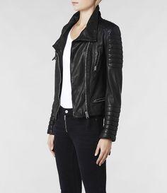 Womens Steine Leather Biker Jacket (Black)   ALLSAINTS.com
