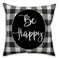 """Designs Direct """"Be Happy' Square Throw Pillow in Black/White"""