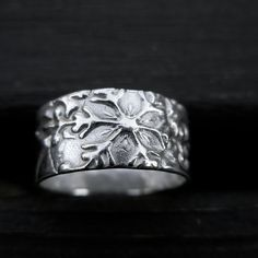 Snowflake Ring Band  Fine Silver by MyLittleJems on Etsy, $80.00