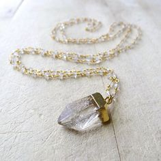 Moonstone Beaded Necklace with Raw Quartz Crystal by 137point5