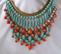 Spectacular Vintage MIRIAM HASKELL Signed Turquoise and Coral Glass BIB Necklace