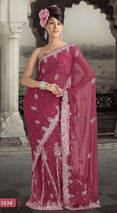Deep Magenta Color Faux Georgette Lehenga Style Saree