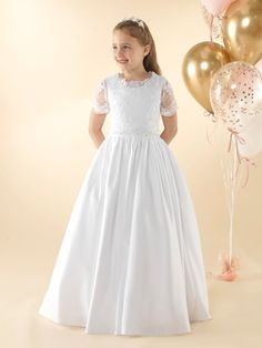 LWCD41 Communion Dress Holy Communion Dresses, First Holy Communion, Lace Button, Satin Gown, Lany, Little White, Holi, Bodice, Flower Girl Dresses