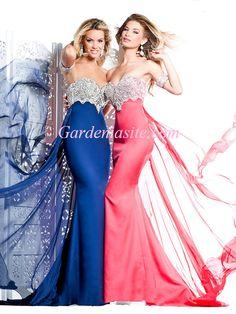 Sheath/Column Spaghetti Straps Court Train Appliques Beading Crystals Satin Evening Dress 2014 - Gardeniasite