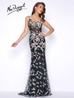 Thin strap, sweetheart neckline, fully floral beaded applique, partially sheer, open back, column prom dress in Black/Multi.