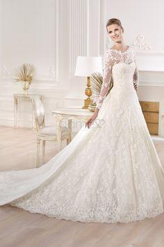 Lange Ärmel A-Linie Spitze Lace Satin bodenlanges aufgeblähtes Brautkleider