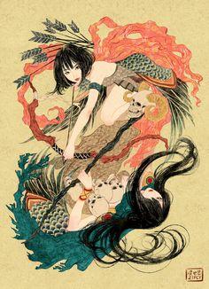 "Zipcy-illustration — This is artwork of game [Clash of clans] On ""Art. Japon Illustration, Comics Illustration, Japanese Illustration, Character Illustration, Illustrations, Art Asiatique, Bodysuit Tattoos, Yakuza Tattoo, Arte Horror"