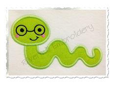 $2.95Applique Bookworm Machine Embroidery Design