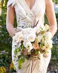 Bouquet of Roses, Hydrangea, Porcelain Berries, Ranunculus, & Amaranthus (via MarthaStewartWeddings.com)