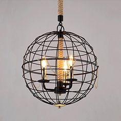 NIUYAO 16 Wide Industrial Vintage Style Globe Chandelier Metal Pendant Lamp Hanging Lighting Fxiture with 3 LightsBlack Globe Pendant Light, Globe Chandelier, Pendant Lamp, Pendant Lighting, Industrial Lighting, Chandeliers, Kitchen Pendants, Lamp Design, Hanging Lights