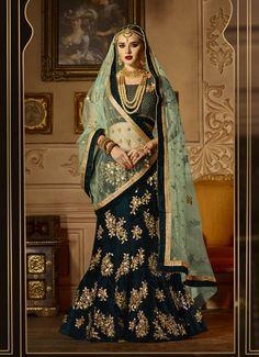 Impressive Dark #Green #Velvet #Designer #Lehenga