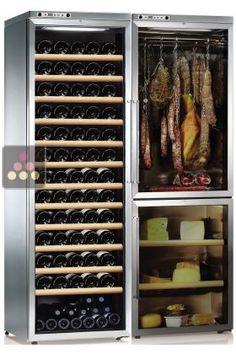 Combiné d'une cave à vin multi-température, d'une cave à fromages et d'une cave à charcuteries CALICE, ACI-CAL775TC - Ma Cave à Vin