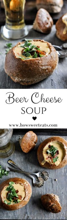 Beer Cheese Soup in Homemade Bread Bowls by @howsweeteats I howsweeteats.com