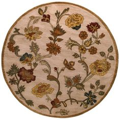 Ipswich Round Cream Floral Tufted Wool Area Rug (Common: 6-ft x 6-ft; Actual: 72-in x 72-in)