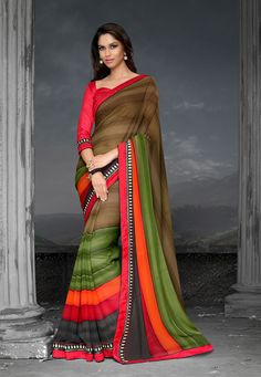 Olive Green, Red and Orange Faux Georgette Saree with Blouse: SGA5652