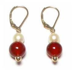 White Pearl & Red Jade 14K Yellow Gold Lever Back by TADragon