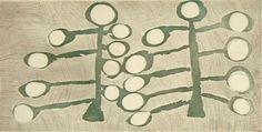 Nyapanyapa Yunupingu, Galurra (Tree), 2009, Etching, 49 x 25 cm. Buku,  Larrnggay Mulka Art Center, Nomad Art.
