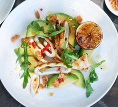 Chilli & lime squid salad: James Martin's sensational starter is sure to impress dinner party guests - marinate the squid overnight, then sear just before serving over avocado and rocket