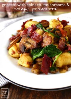 Get your forks ready - you'll be fighting over the last bite of Gnocchi with Spinach, Mushrooms and Crispy Prosciutto. This 30 minute, gluten and dairy-free meal is a stunner! | iowagirleats.com