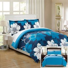 Chic Home 7-Piece Celosia Abstract Large Scale Floral Printed King Bed In a Bag Duvet Set Blue Sheets Included