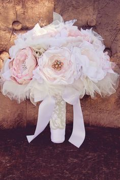 Fabric Flower Bridal Bouquet Custom. Dusty pink, Blush, Mauve, Ivory, Tulle, Lace, Pearls, Rhinestones.  You pick Colors. $250.00, via Etsy.