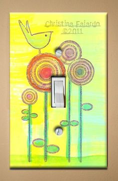 Single Light Switch Plate (Cover) Decoupage Abstract Yellow Bird on Circle Flowers $7