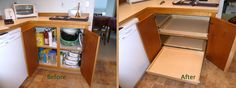 ShelfGenie blind corner solution + stile removal = easy access to everything in your kitchen cabinets! Let us do the math for you.  http://www.shelfgenie.com/