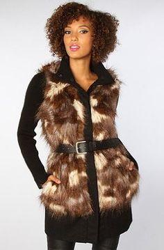 BB Dakota Women's The Miko Knit and Faux Fur Belted Coat Small Black BB Dakota. $140.00