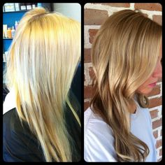 Fall hair makeover: from blonde to bronde! Take your platinum locks to a rich shade of honey bronde this fall.