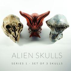 Alien Skulls Series 1 - Dominic Qwek Art