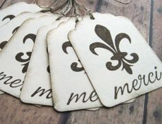 Merci with Fleur de Lis Gift Tags  Set of 6 by CuteLootnFood2Boot, $4.50