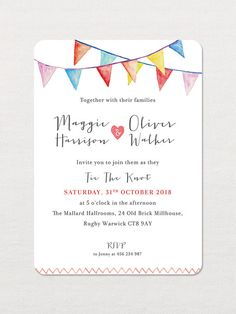 F L O R A L ⋆ A N T L E R ⋆ I N V I T A T I O N ⋆ S E T ──────────────────── Personalised Watercolour Bunting Wedding Invitation would be a great way to get your guests excited for your big day! This lovely design available as Day / Evening Invites. Perfect for summer garden weddings.  This listing is for SAMPLE PACK SET or DEPOSIT to start your order.   S A M P L E ⋆ P A C K ──────────────────── Samples cannot be customized. Only final orders can be customized to your wording and colors...
