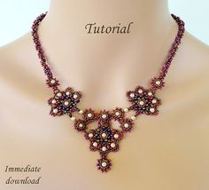 Beading turorial instructions - beadweaving beading pattern beaded superduos or twins seed bead jewelry - GEISHA beadwoven necklace