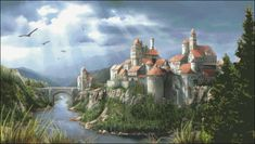 Fantasy City, Fantasy Castle, Fantasy World, Fantasy Names, Fantasy Artwork, Medieval Castle, Medieval Fantasy, Famous Castles, Fantasy Setting