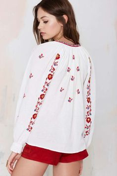 Shop the most stylish blouses and shirts for women from Nasty Gal, including floral, red, black, white blouses & more. Folk Clothing, Festival Tops, Folk Fashion, Peasant Blouse, White Shirts, Shirt Blouses, Blouses For Women, Costume, Folk Style