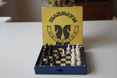 Vintage Original Soviet Travel Magnet Chess Set With Original Carton Box, from Soviet Union, Lviv(Ukraine) - Made in USSR. Beautiful-Rare! von SovietGallery auf Etsy