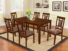 nice The Room Style 7 piece Cherry Finish Solid Wood Dining Table Set