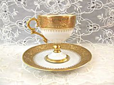 Limoges Teacup and Saucer Demitasse Tea Cup Gold White