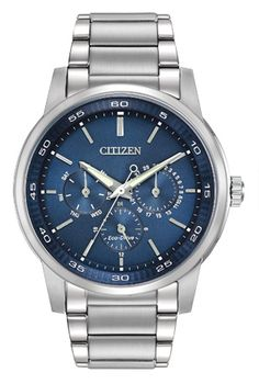 Perfect for any occasion, this Citizen Eco-Drive offers a stainless steel case and bracelet with blue dial. - Stainless steel with screw back case - Blue Dial with silver-toned accents - Eco-Drive sol Mens Dress Watches, Watches For Men, Ladies Watches, Cheap Watches, Affordable Watches, Casual Watches, Stainless Steel Watch, Stainless Steel Bracelet, Timex Watches