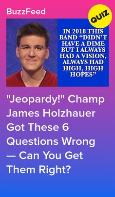 """"""" Champ James Holzhauer Got These 6 Questions Wrong — Can You Get Them Right? Guess Your Age Quiz, Interesting Quizzes, Lets Get Started, A Dime, Trivia, Champs, Buzzfeed, Singing, Articles"""