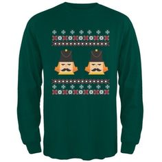 Nutcracker Full Color Ugly Christmas Sweater Dark Green Adult Long Sleeve T-Shirt - Medium