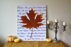 Herbstliche Kunst selber machen - Karton und Herbstblatt
