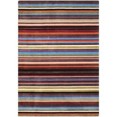 @Overstock.com - A modern design and dense, thick pile highlight this handmade rug. This floor rug has a blue rainbow background and displays stunning panel colors of blue, brown, beige, orange, and ivory.http://www.overstock.com/Home-Garden/Handmade-Rodeo-Drive-Blue-Rainbow-Stripe-Rug-5-x-8/7153771/product.html?CID=214117 $209.69