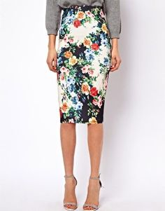 Exclusive Pencil Skirt In Floral Print at ASOS