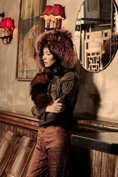 Ooooo, me love it! - Pink fox worn as hat, Vintage grey jacket with gold coils (both available at Barbara Flood's Closet NYC), Fay Leshner Asian silk peg pants