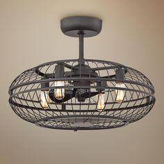 "25"" Casa Metallika Foundry Bronze Oval Cage Ceiling Fan"