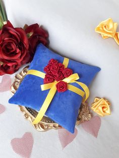 Beauty and The Beast Wedding Ring Pillow Beauty Wedding Blue Ring Bearer Pillows With Red Roses Ring Bearer Pillow Ring Cushion Pillows Beauty And The Beast Crafts, Beauty And The Beast Wedding Cake, Beauty And Beast Birthday, Beauty And The Beast Theme, Disney Beauty And The Beast, Wedding Beauty, Beauty Beast, Dream Wedding, Bueaty And The Beast