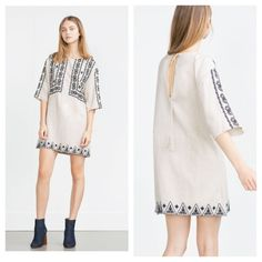 Zara Embroidered Tunic Dress Black and cream color, embroidered in front, sleeves and hem. Round neckline. New never worn but no tag when I bought it last piece in the store. Zara Dresses Mini