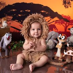 Boys First Birthday Party Ideas, Wild One Birthday Party, 1st Boy Birthday, Boy Birthday Parties, Baby Lion Costume, Lion King Party, 1st Birthday Photoshoot, Lion King Birthday, Safari Theme Party